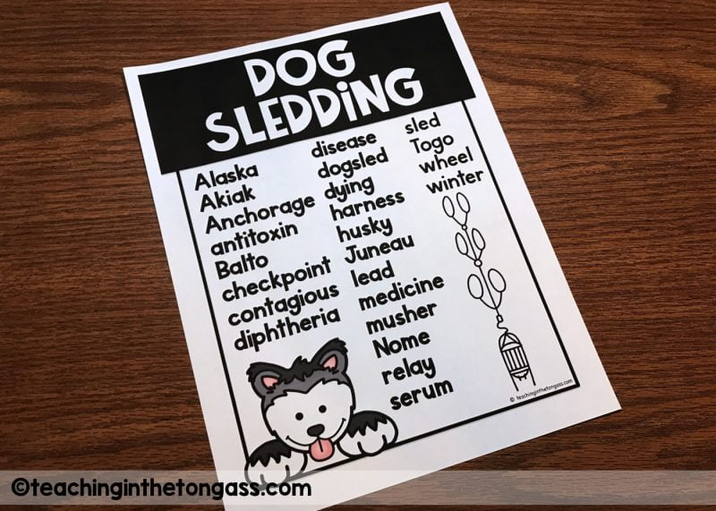 iditarod vocabulary words