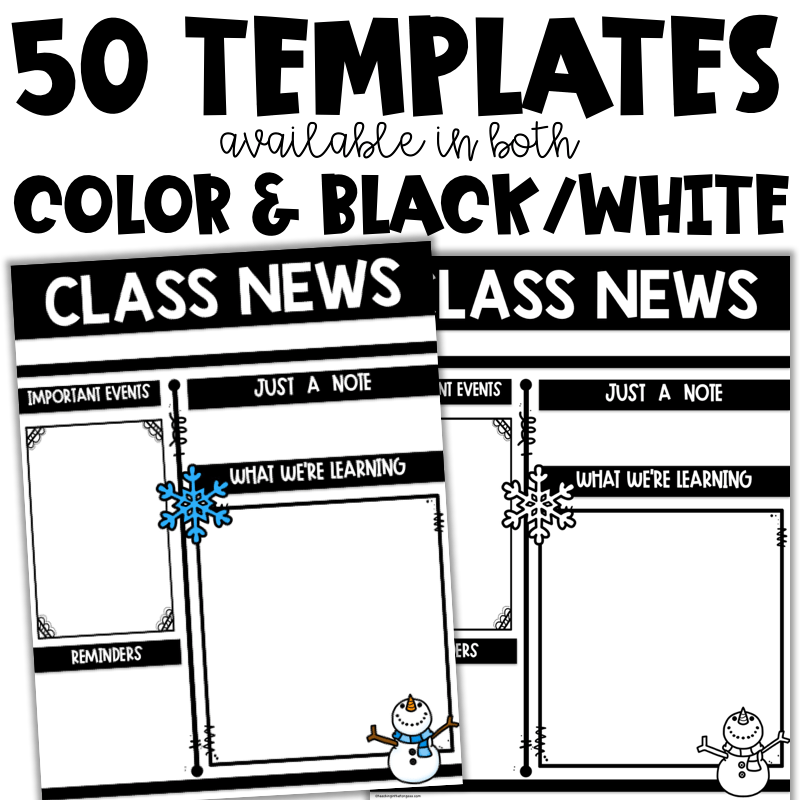 weekly class newsletter template teaching in the tongass