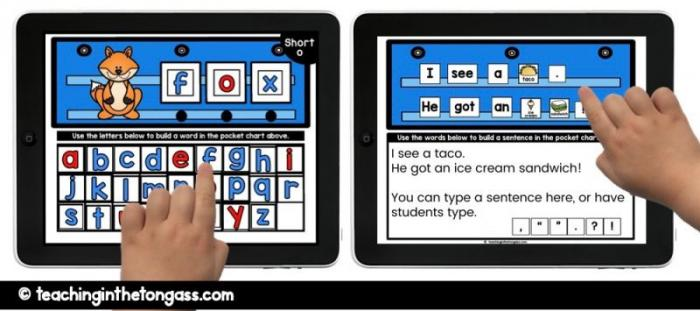 paperless pocket chart phonics and writing